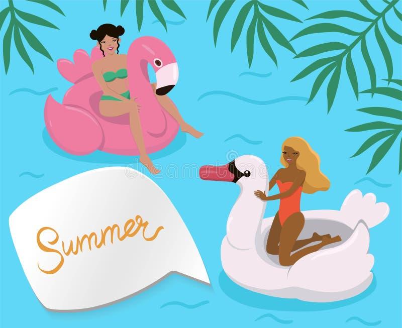Dziewczyny w basenie na nadmuchiwanych flamingach i łabędź r?wnie? zwr?ci? corel ilustracji wektora royalty ilustracja