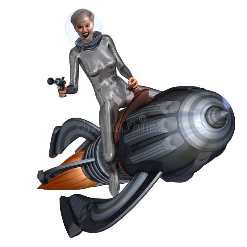 dziewczyny wałkowy retro jazdy rakiety srebro retro ilustracja wektor