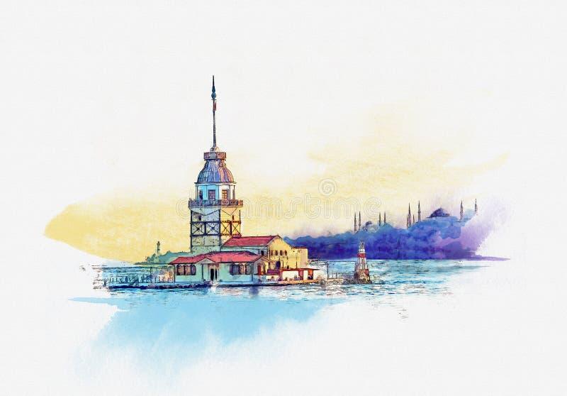 Dziewczyny wierza przy świtem w Istanbuł, Turcja Akwareli nakreślenie royalty ilustracja