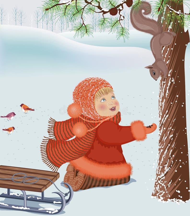 dziewczyny wiewiórka ilustracji