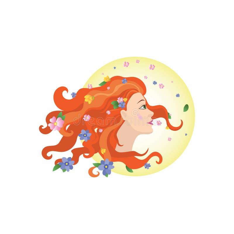 Dziewczyny wiosny wektor Kwiaty w włosy dziewczyna pi?kna kobieta ilustracji