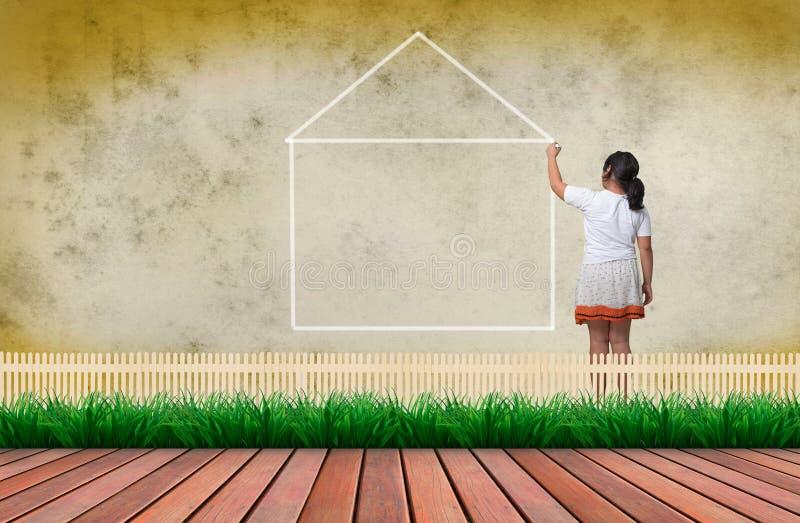 Dziewczyny writing betonowa ściana linia dom na betonowej ścianie fotografia stock