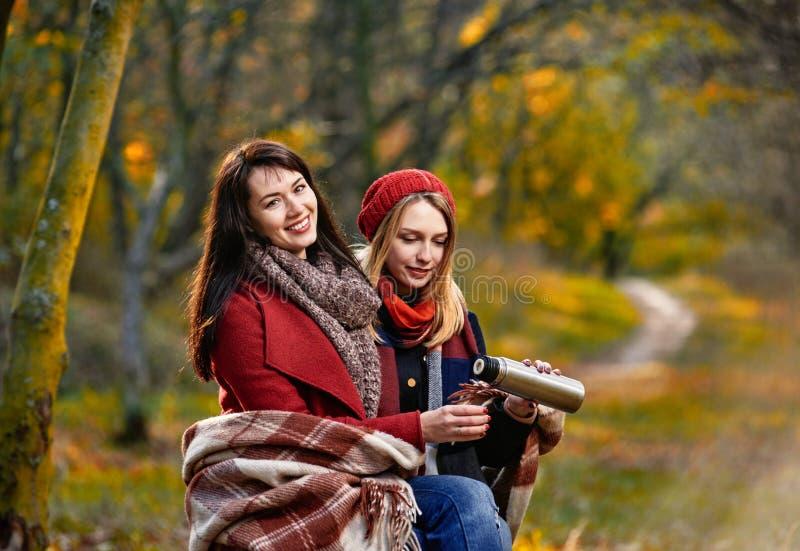 Dziewczyny wygrzewa się w jesień parku zdjęcia royalty free