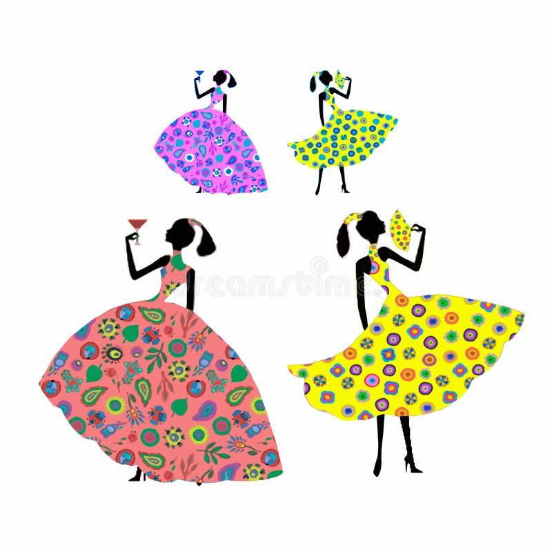 Dziewczyny z fan i szkłem w pięknych sukniach na białym tle royalty ilustracja