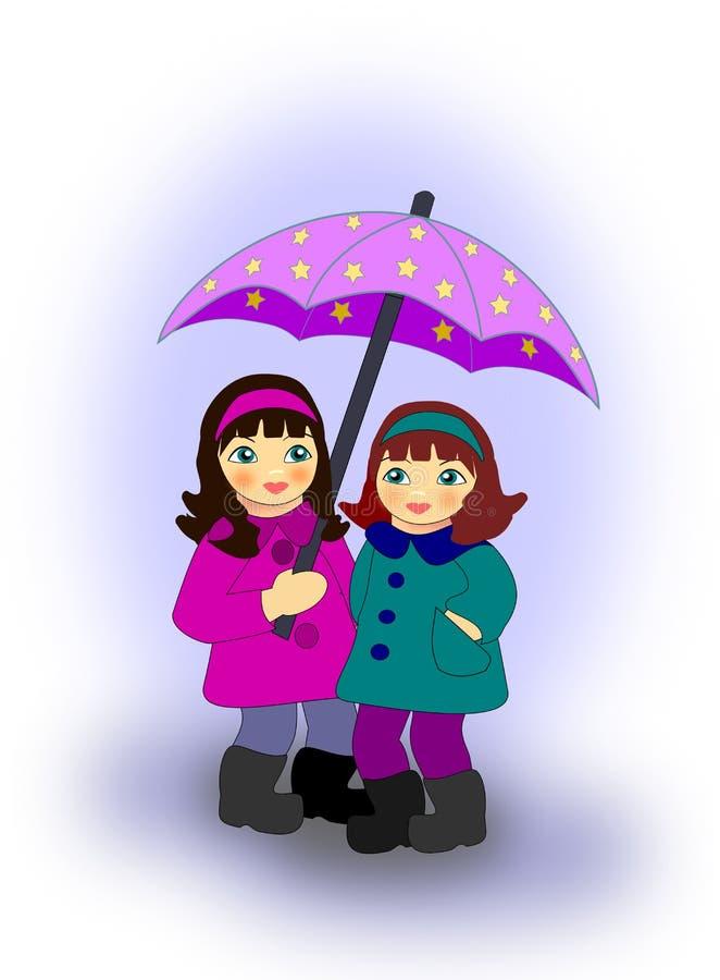 Dziewczyny z parasolem royalty ilustracja