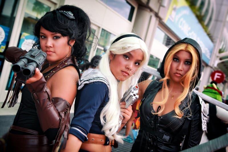 Dziewczyny z postawą przy San Diego Komicznym przeciwem, convention center, Kalifornia zdjęcie royalty free