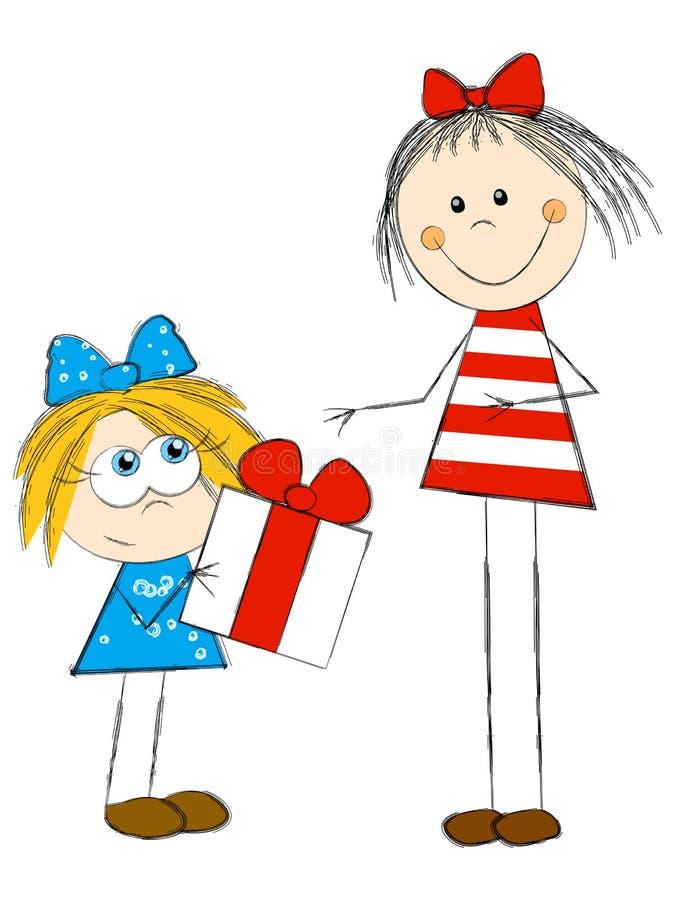 Dziewczyny z prezentem ilustracja wektor