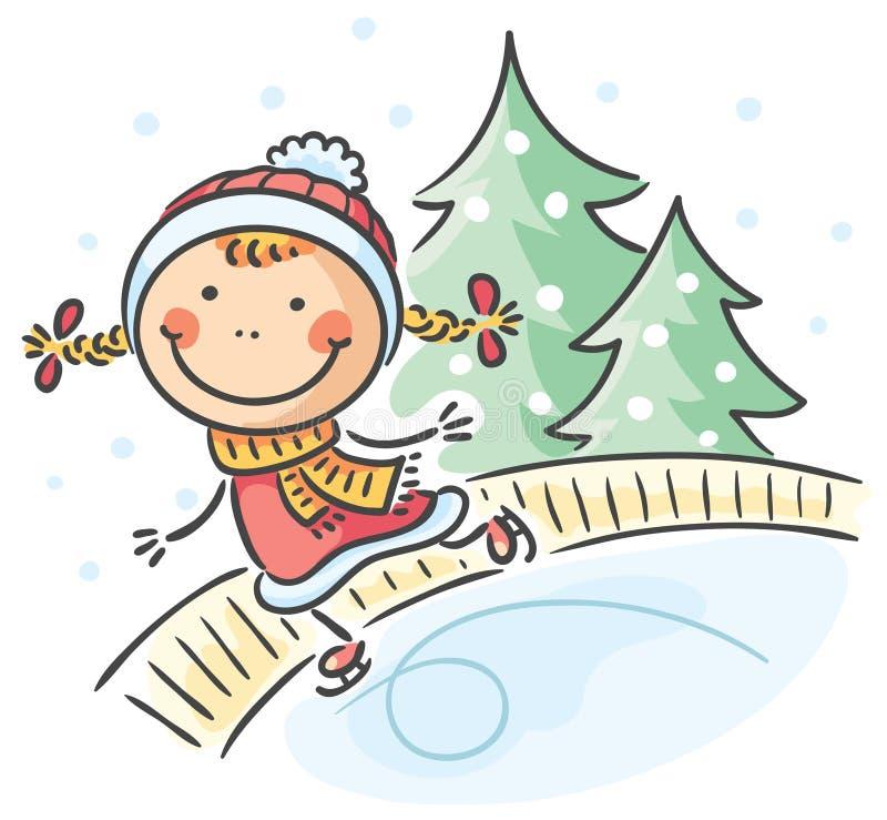 Dziewczyny zimy aktywność: jeździć na łyżwach royalty ilustracja