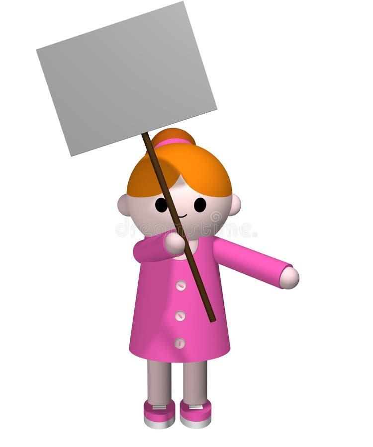 dziewczyny znak gospodarstwa ilustracja wektor