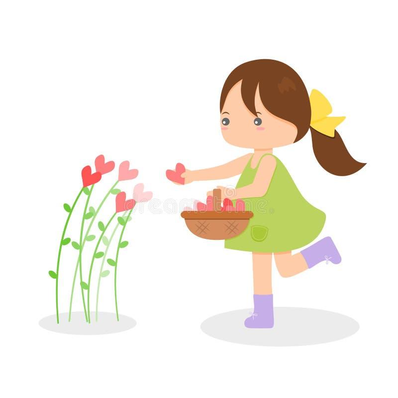 Dziewczyny zrywania serca kwiaty zdjęcia stock