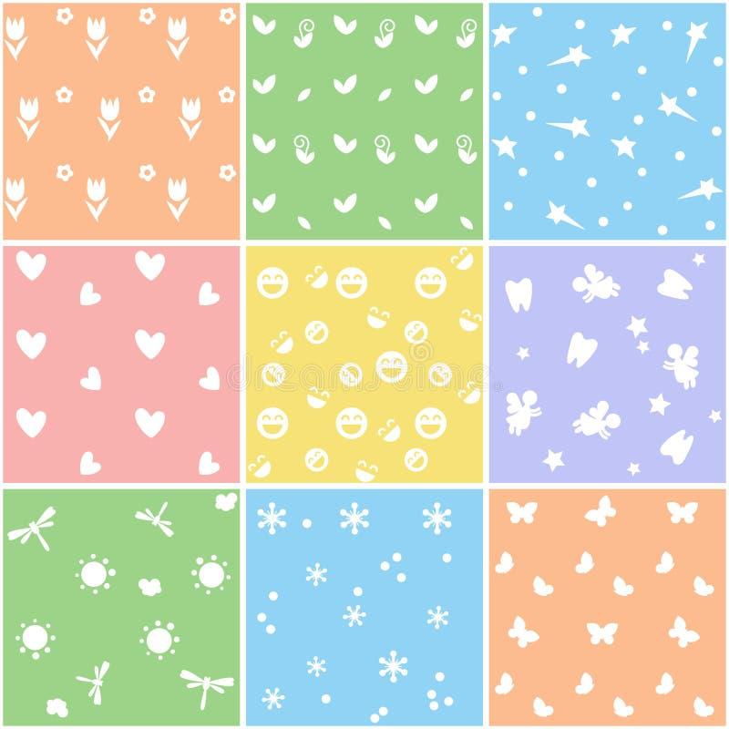 Dziewięć ślicznych kolorowych wzorów dla projekta ilustracji