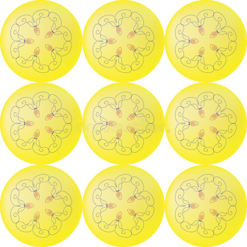 Dziewięć żółtych piłek z kwiecistym wzorem w centrum bezszwowym wzorze ilustracja wektor