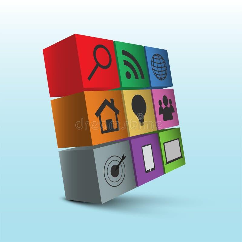 Dziewięć 3D kwadratów z ikonami 3D sześcian z ikonami i cieniem ilustracja wektor