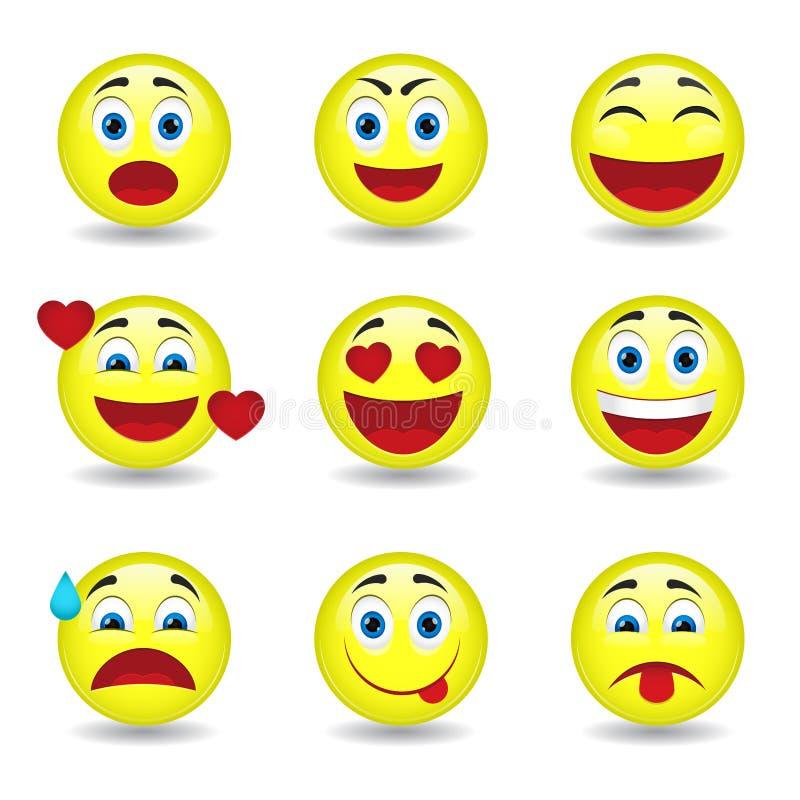 Dziewięć kółkowych emoticons ilustracji