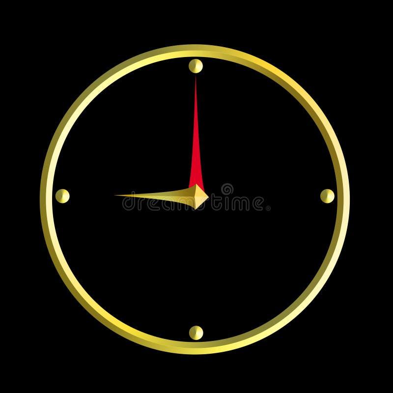 Dziewięć o ` zegaru złota czerń royalty ilustracja