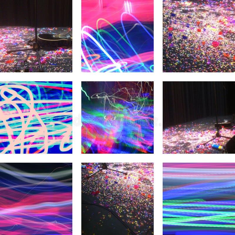 Dziewięć obrazków z confetti, światłem i muzyką, zdjęcie stock