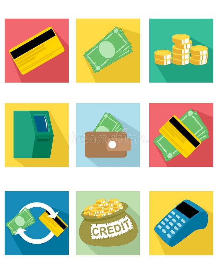 Dziewięć płatniczych ikon ilustracja wektor