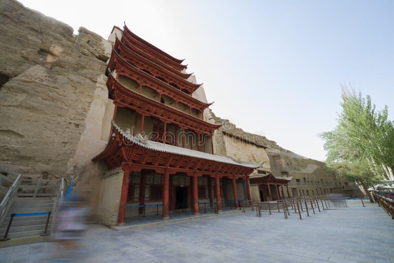 Dziewięć podłog świątynnych w jamie 96 także dzwonili dziewięć kondygnacji budynek Mogao groty Mogao zawala się, Dunhuang, Chiny obrazy stock