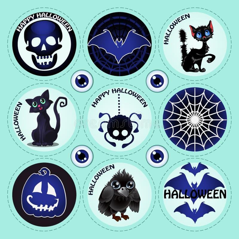 Dziewięć przedmiotów Halloween ilustracja wektor