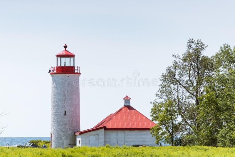 Dziewięć punktu Milowa latarnia morska na Simcoe wyspie, Ontario fotografia royalty free