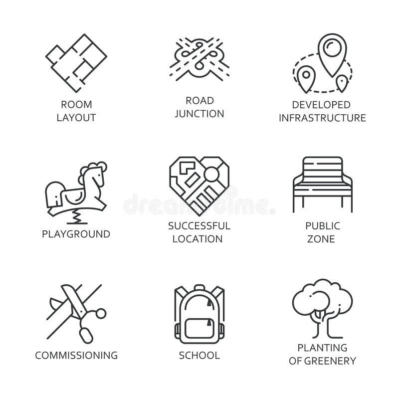 Dziewięć rozwój miastowej i drogowej infrastruktury logo royalty ilustracja