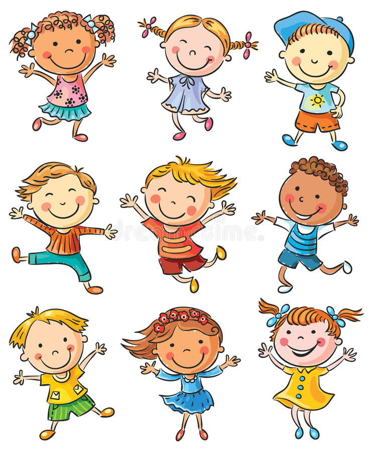 Dziewięć Szczęśliwych dzieciaków Tanczy lub Skacze ilustracji