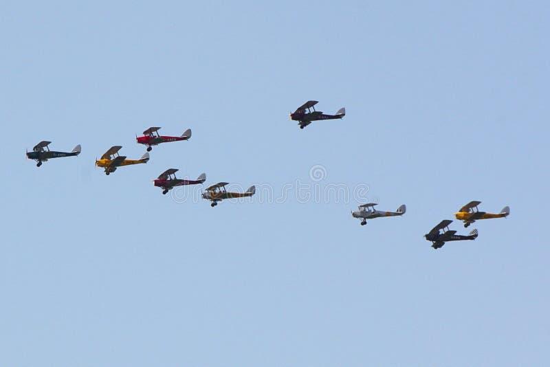 Dziewięć Tygrysiego ćma samolotu latanie w formaci obraz stock