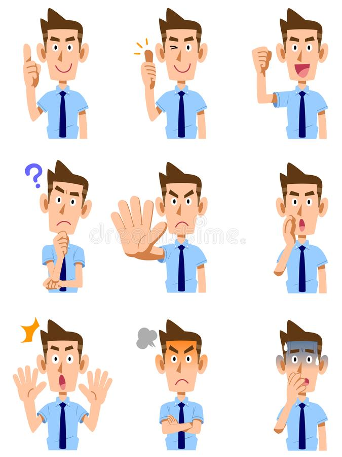 Dziewięć typ gesty i wyrazy twarzy samiec royalty ilustracja