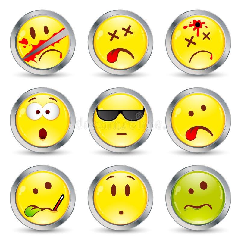 dziewięć ustalonych smileys ilustracji