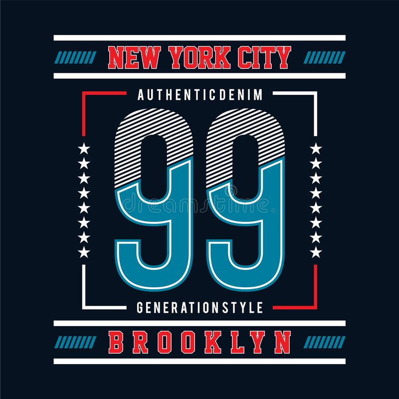 Dziewięćdziesiąt dziewięć z nowego York miasta typograficznego projekta linii wektorową sztuką royalty ilustracja