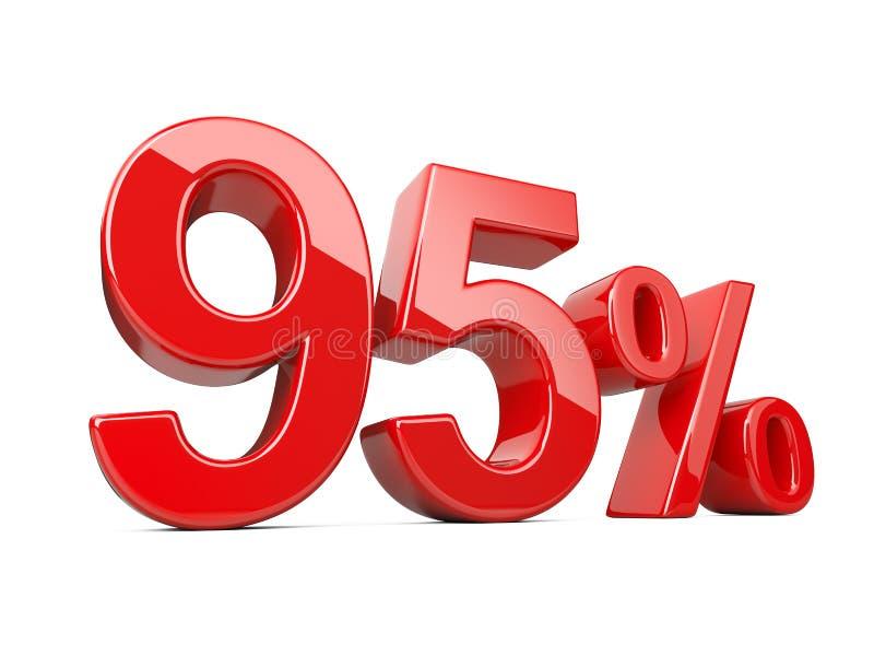 Dziewięćdziesiąt pięć czerwień procentu symbolu 95% odsetka tempo Dodatek specjalny daleko ilustracji