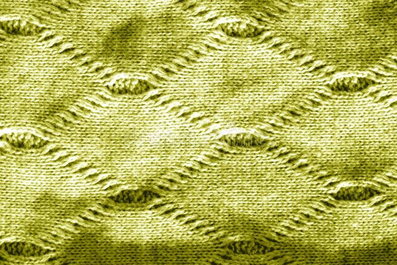Dziewiarska tekstura w żółtym brzmieniu obrazy royalty free