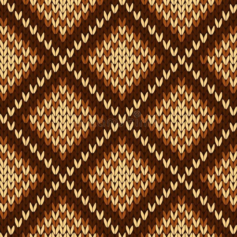 Dziewiarski bezszwowy ozdobny wzór w różnorodnych odcieniach brąz ilustracja wektor