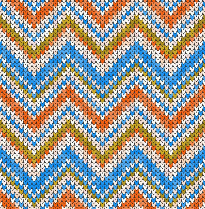 Dziewiarski klasyczny geometryczny wzór Trykotowy realistyczny bezszwowy t?o, tekstura Wektorowy bezszwowy tło dla royalty ilustracja