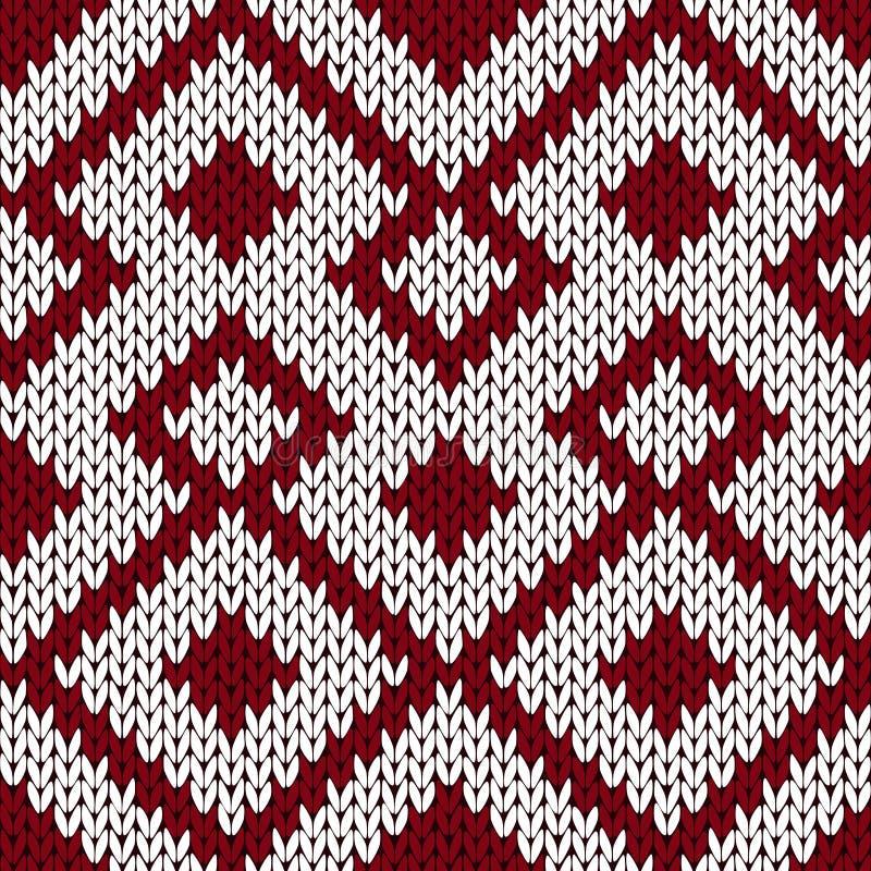 Dziewiarski ozdobny bezszwowy wzór w niemym zmroku - czerwonym i białym col ilustracja wektor