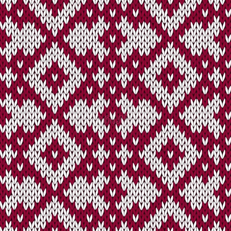 Dziewiarski ozdobny bezszwowy wzór w zmroku - czerwieni i bielu kolory royalty ilustracja