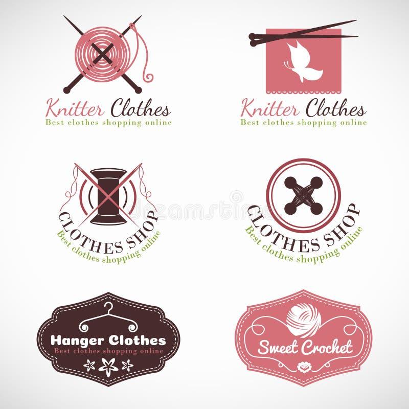 Dziewiarskiego wieszaka i szydełkowego roczników ubrań mody sklepu loga wektoru ustalony projekt royalty ilustracja