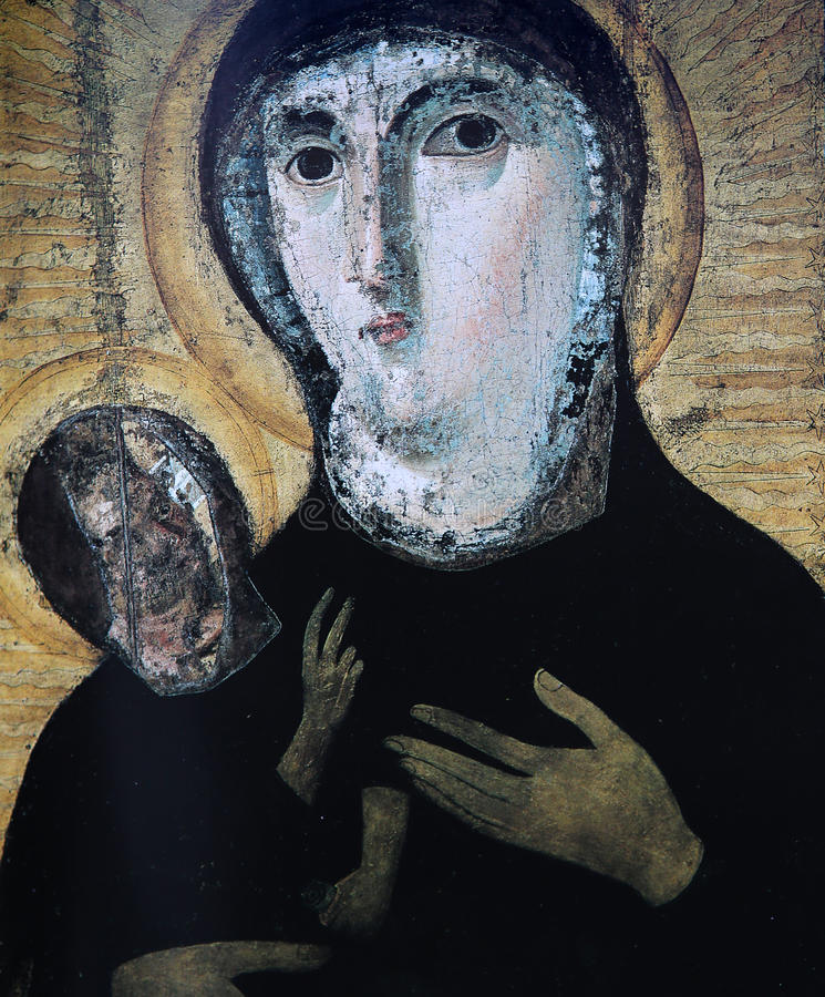Dziewicy i dziecka frescoe, Santa Francesca Romana kościół, Rzym, Włochy obraz royalty free
