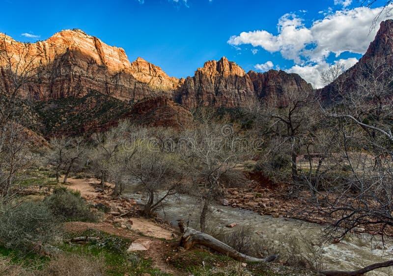 Dziewicza rzeczna dolina w Zion parku narodowym, Utah obrazy stock