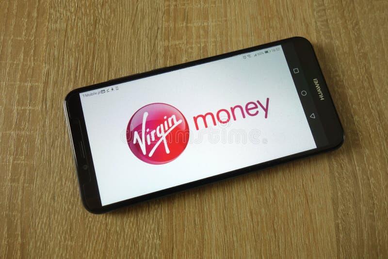 Dziewiczy pieniądze logo wystawiający na smartphone obrazy royalty free