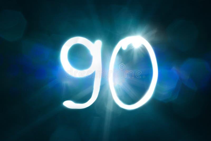 Dziewiećdziesiąt lekkiego błyskotanie połysku liczby rocznicy roku fotografia stock