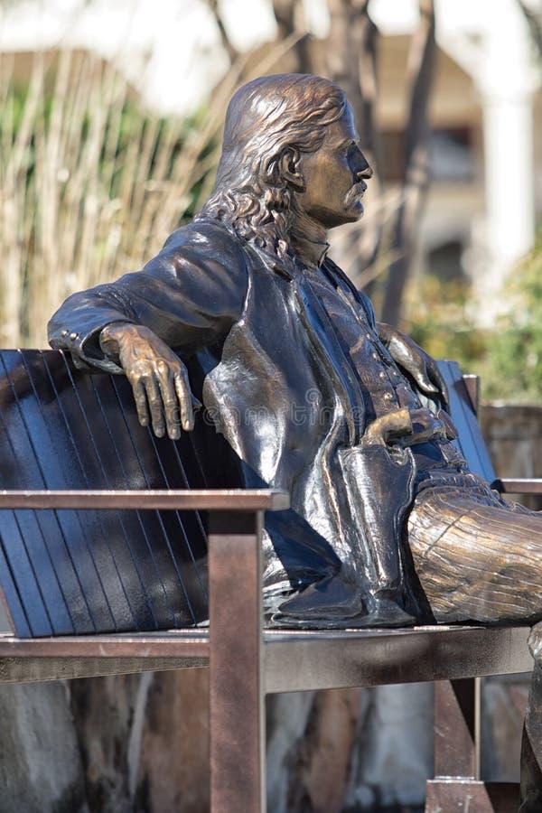 Dzika Bill rzeźba w Boerne Teksas obrazy stock