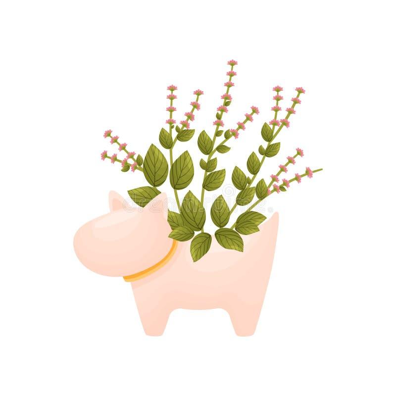 Dzika mała menchia kwitnie w wazie w formie psa t?a ilustracyjny rekinu wektoru biel ilustracja wektor