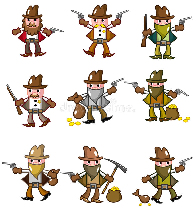 dzika na zachód kowbojska kreskówki ikona royalty ilustracja