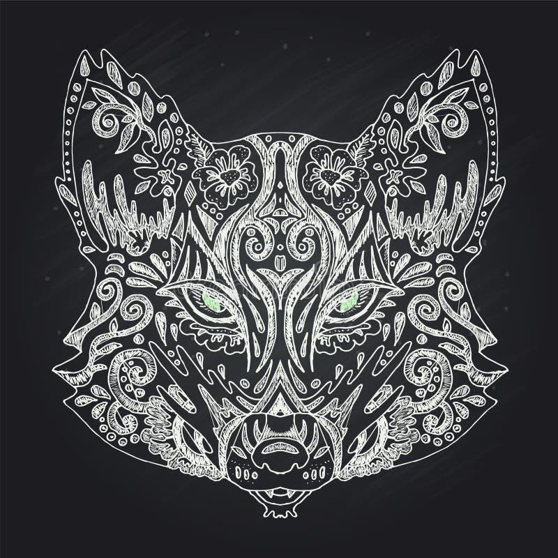 Dzika piękna lis głowy ręka rysująca w kredzie na czarnym tle kolor ksi??ka Moda w wektorowej ilustraci royalty ilustracja