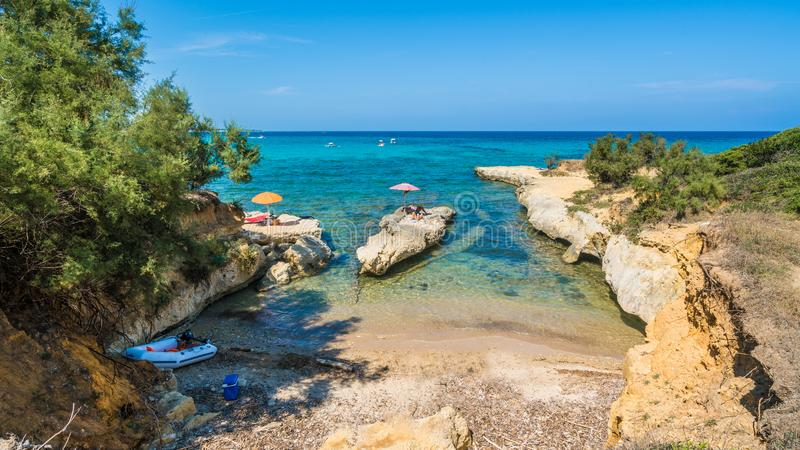 Dzika plaża przy Kanałowy d «amour, Sidari region, Corfu wyspa, Grecja fotografia stock