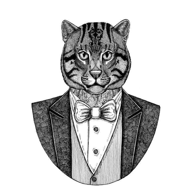 Dzika ręka rysująca kota połowu kota ilustracja dla tatuażu, emblemat, royalty ilustracja