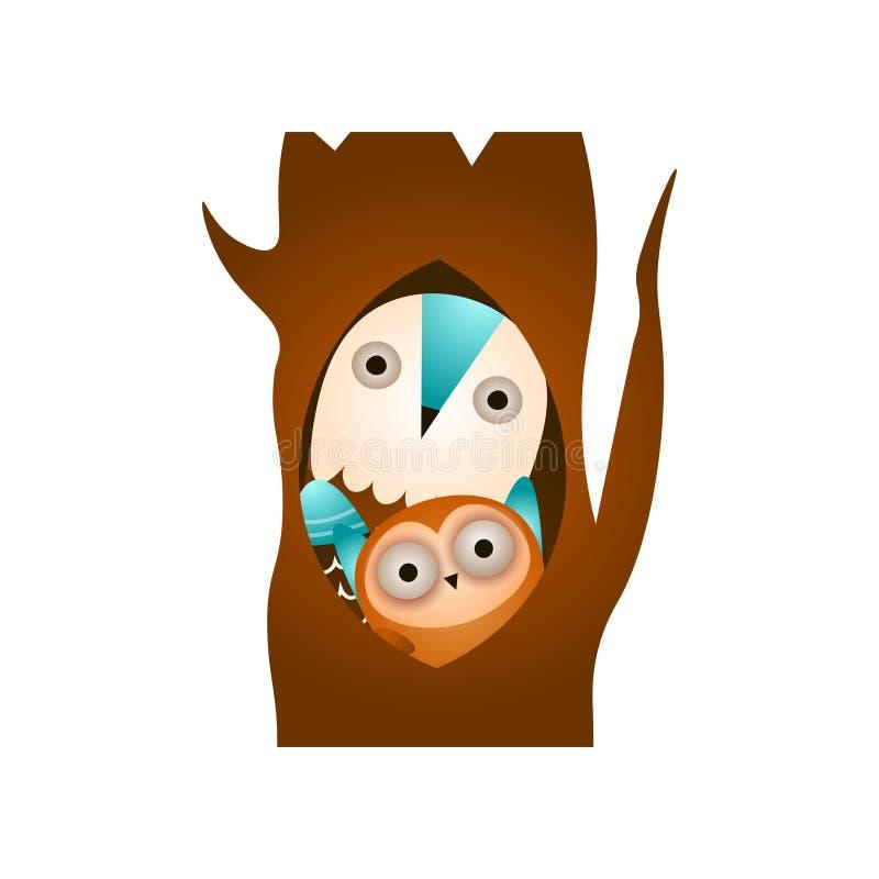 Dzika rodzinna sowa w lesie, pobyt w drzewnej dziurze ilustracji