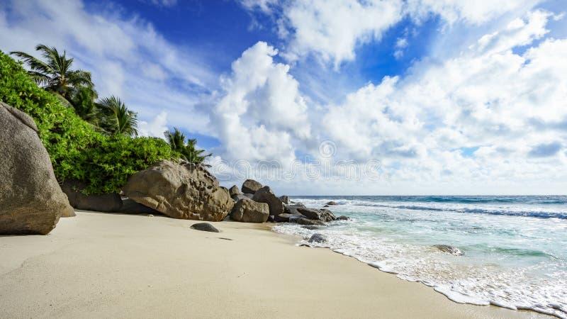 Dzika tropikalna plaża z skałami, białym piaskiem, palmami i turkusowym wa, zdjęcia royalty free