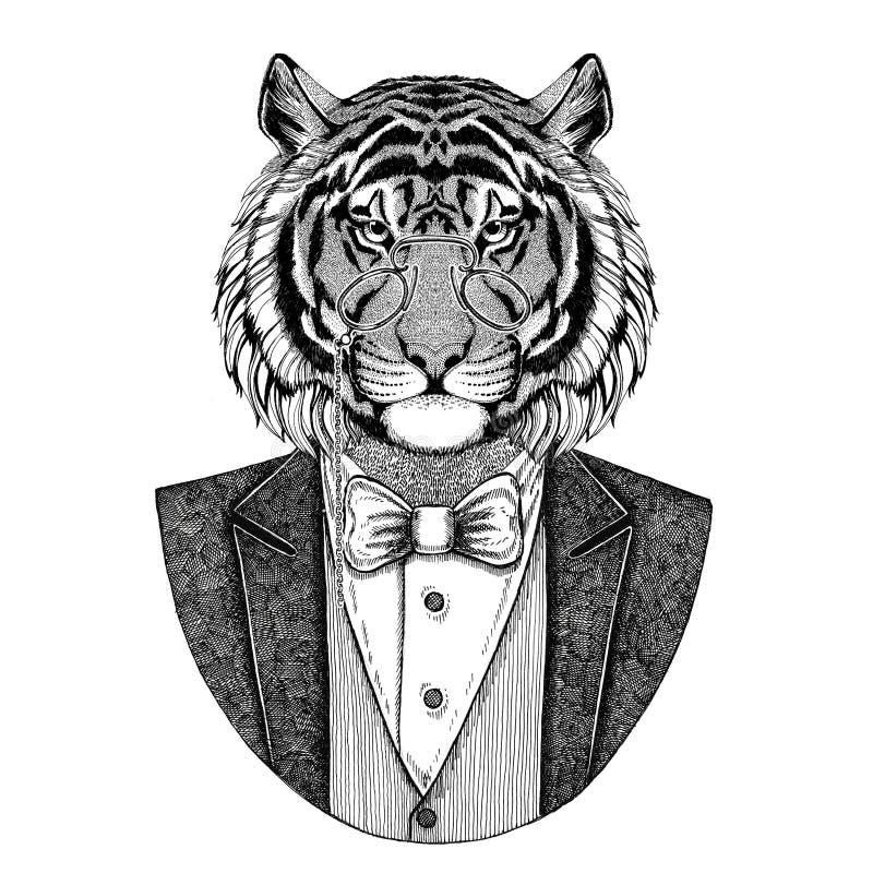 Dzika tygrysia zwierzęca ręka rysujący modnisia wizerunek dla tatuażu, emblemat, odznaka, logo, łata, koszulka royalty ilustracja